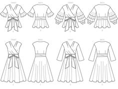 McCall's Sewing Pattern Misses' Wrap Tops and Dresses with Waist Tie Fashion Sketch Template, Fashion Model Sketch, Fashion Sketches, Mccalls Sewing Patterns, Vogue Patterns, Wrap Over Dress, Flat Sketches, Fashion Illustration Sketches, Fashion Figures