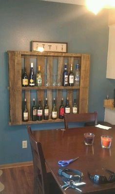Pallet wine rack, just snatched up a pallet, maybe I should try something like this!