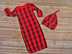 Buffalo plaid baby gown and knotted cap set. Please see size chart for ease in ordering. Available in preemie to 6 Month. ------------------------------------------------------------------------ Items handmade in my smoke free, pet friendly home. No returns on custom items.