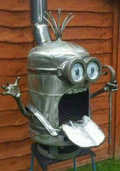 Minnion  Smoker made from a propane tank Arts & Crafts - Community