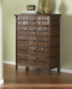 Polynesian Five Drawer Chest by Hospitality Rattan. $590.75. Number of Boxes 1. Woven Wicker. Width 20. Style Tropical. Material Wood. This Polynesian bedroom collection is one of our fine rattan and bamboo sets. The great looking tropical wicker bedroom set. In addition metal glides are used on all the case good pieces. Glass is sold separatelyWeight 88Assembly Required No Assembly RequiredLength 36Height 50Finish AntiqueTraditional rattan and bamboo five drawer chestFinish...