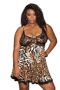 Fashion Bug Women Plus Size Full Figure Exotic Leopard and Lace Soft Babydoll Lingerie www.fashionbug.us #PlusSize #Curve #BBW #Curvy #FashionBug #Lingerie