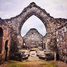 The ruins of Adrmore Cathedral, Waterford, Ireland. Built on the site of monastery founded by St. Declan in the 5th century AD