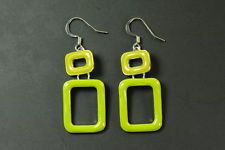 FUNKY 60'S STYLE LADIES LIME/OLIVE GREEN DOUBLE RECTANGLE DESIGN EARRINGS(ZX1)