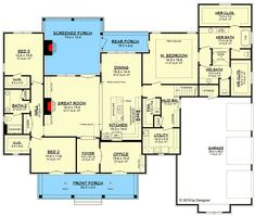 COOL house plans offers a unique variety of professionally designed home plans with floor plans by accredited home designers. Styles include country house plans, colonial, Victorian, European, and ranch. Blueprints for small to luxury home styles. Southern House Plans, Southern Homes, New House Plans, Dream House Plans, House Floor Plans, Southern Style, Dream Houses, Brick House Plans, French Country House Plans
