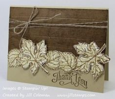 Gently Falling Nice and Neutral Thank You Card by jillastamps - Cards and Paper Crafts at Splitcoaststampers