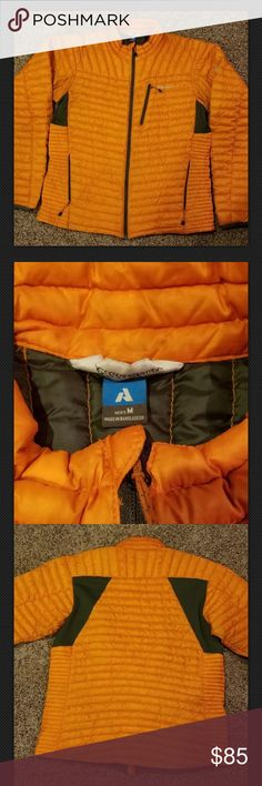 Eddie Bauer Men's First Ascent size M Down Coat Up for sale is an orange lightweight downfilled Eddie Bauer First Accent coat. Men's size Medium  Very warm yet lightweight. Size Medium Great for any season! Has some sighns of gentle ware (pictured) but no snaggs or rips. Please feel free to make me an offer! Eddie Bauer Jackets & Coats Puffers