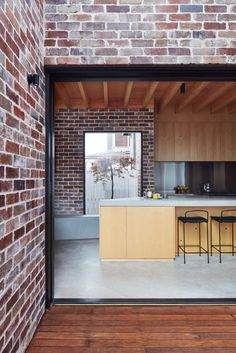 Those Architects transforms Sydney bungalow into spacious home - Architecture Australian Architecture, Residential Architecture, Interior Architecture, Brick Architecture, Brick Facade, Facade House, House Cladding, Plywood Kitchen, Recycled Brick