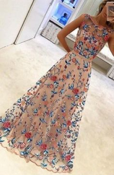 A-line Jewel Sleeveless Floor Length Light Champagne Prom Dress with Flowers