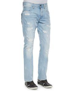 Tapered Denim Jeans with Destroyed Detail, Light Blue, Size: 38, Lt Blue - G-Star