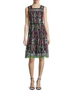 Sleeveless+Embroidered+Paneled+A-Line+Dress,+Green/Black+by+Parker+Black+at+Neiman+Marcus.
