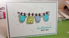 Babykarte / Baby Card using Lawn Fawn Little Bundle Stamps and Dies