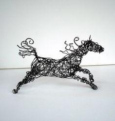 Original Wire Horse Sculpture  SPIRALMANE HORSE by wireanimals, $68.00