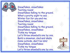 Snowflakes song and song chart - Classroom Freebies