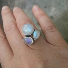 CHATOYANT RAINBOW MOONSTONE CLUSTER RING IN STERLING SILVER Gold Wedding Jewelry, Gold Jewelry, Moonstone Ring, Cheap Jewelry, Cluster Ring, Rainbow Moonstone, Dog Tag Necklace, Handmade Jewelry, Silver Rings