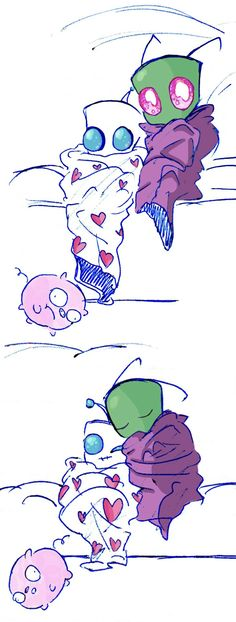 Zim and Gir being all cute                Invader Zim, Zim, Gir