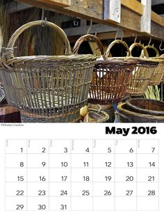 https://flic.kr/p/FRGPpX | May 2016 calendar | Download and print a calendar for May 2016. 'Download this photo' arrow on the far right. Choose 'original size' and download to your computer and print. Willow baskets by Katherine Lewis. Photo by Steven Lospalluto.