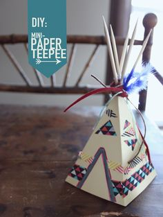 Here's your next little diy project: mini paper teepee!  ~LittleWorlds  #craft #nativeamerica