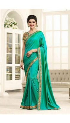 Prachi Desai Teal Green Silk Saree With Banglori Silk Blouse - DMV11674