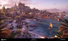 Fantasy City, Fantasy Island, Fantasy Castle, Fantasy Places, Fantasy World, Fantasy Art Landscapes, Fantasy Landscape, Fantasy Artwork, Greek Warrior