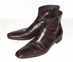 PRADA~MEN'S~MADE IN ITALY~GENUINE LEATHER~DRESS FORMAL *ZIPPERED ANKLE BOOTS* 12 #PRADA #DressZipperedANKLEZIPPERLeatherBoots