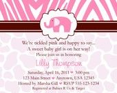 Pink Elephant Safari Baby Shower Invitations - girl or boy - any color