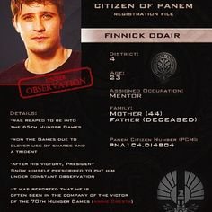 Citizen of Panem Identification Card : Finnick Odair