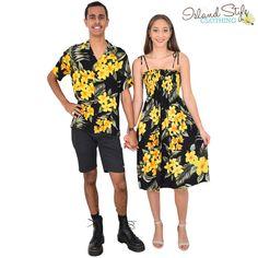 7646e0be9c Gorgeous Exact Matching Couples Hawaiian Clothing Set - Mens Hawaiian Shirt  and Ladies Tube Shirred Dress.