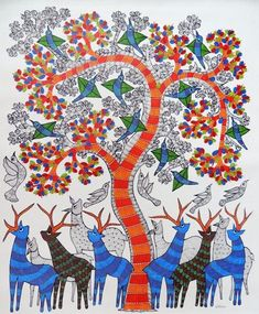 Madhubani Art, Indian Folk Art, Bird Embroidery, Madhubani Painting, Indian Art Paintings, Mural Painting, Elements Of Art, Tribal Art, Illustration Art