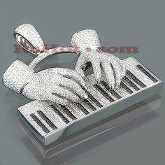 14K Gold White & Black Diamond Piano Pendant 17.50ct