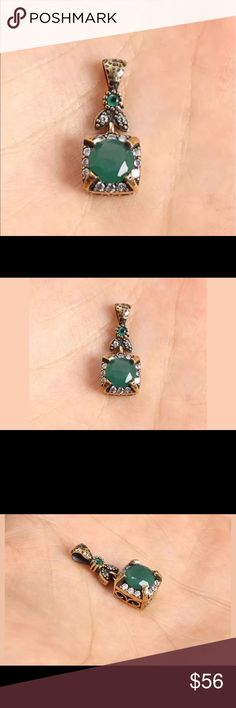 "Square handmade Emerald Topaz .925 silver pendant Beautiful pendant,Material is .925 solid sterling silver and Bronze. The stone are Emerald, Topaz. This pendant is 2,85 grams Head size is 0,41"". Silver item has the .925 stamp ! Jewelry Necklaces"