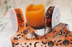 Halloween Ribbon, Trick Or Treat, Orange Organza Ribbon, Black Organza Ribbon, All Hallows Eve Ribbon by WendysFunkyRibbon on Etsy