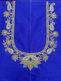 Maggam Work Blouse with Glod beads This is Beautiful designer blouse with Maggam work that creates a different look. The Blue color . Wedding Saree Blouse Designs, Best Blouse Designs, Simple Blouse Designs, Peacock Embroidery Designs, Latest Embroidery Designs, Hand Work Design, Hand Work Blouse Design, Aari Work Blouse, Maggam Work Designs