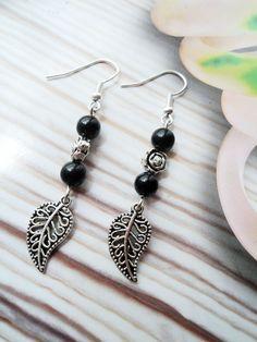 Retro Tibetan Silver Maple Leaf & Bead Earrings