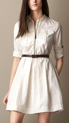 Shirt Dress with Leather Belt
