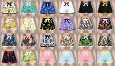 Ribbon Pajamas Shorts_리본 파자마 핫팬츠_여자 의상 - SIMS4 marigold