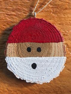 Santa Wood Slice Christmas Ornament This Santa Ornament meas. Santa Wood Slice Christmas Ornament This Santa Ornament measures approximately Christmas Ornament Crafts, Santa Ornaments, Wood Ornaments, Christmas Wood, Christmas Crafts For Kids, Homemade Christmas, Diy Christmas Gifts, Christmas Projects, Holiday Crafts