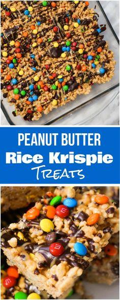Peanut Butter Rice Krispie Treats. Easy chocolate peanut butter dessert recipe. Rice Krispie squares loaded with M&Ms.