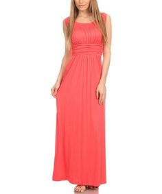 Loving this Coral Empire-Waist Sleeveless Maxi Dress on #zulily! #zulilyfinds