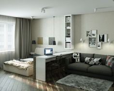 trendy ideas for bedroom interior decorating small rooms trendy ideas for bedroom interior decorating small rooms apartments 4 Small Apartments Showcase The Flexibility Of Compact Design Блог о Дизайне Интерьера ( Small Bedroom Interior, Small Apartment Bedrooms, Condo Interior, Small Apartment Design, Apartment Bedroom Decor, Small Room Design, One Room Apartment, Bedroom Ideas, Bedroom Small