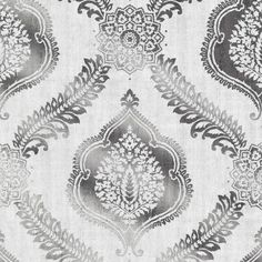 Kenneth James Zoraya Damask Wallpaper Silver - 2618-21303