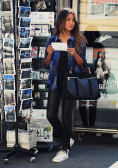 Casual Cue: #SincerelyJules wearing our Nicola Moto Leather Super Skinny in #Paris. #FallforJBRAND