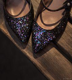 Gift Guide: Tabitha Simmons glitter sparkle pointed-toe flats / Garance Doré