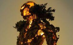 Художник объединяет природу и технологии в скульптуре.  Используя трехмерные печатные фигуры, мох, проволочную сетку, светодиодные фонари и многие другие материалы — получается удивительный футуристический Голем.   #Abbigli #рукоделие #хобби #креатив #handmade