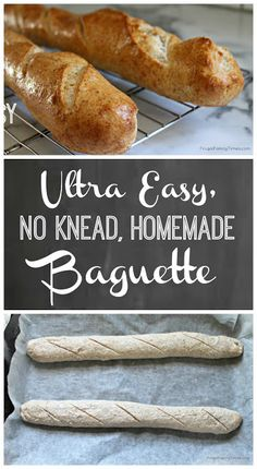 Ultra Easy, No Knead, Homemade Baguette Recipe An ultra easy recipe to bake fresh homemade baguettes from scratch – with an always ready homemade dough. Homemade Baguette Recipe, Easy Keto Bread Recipe, Easy Bread, Bread Recipes, Cooking Recipes, Healthy Recipes, Baguette Recipe No Yeast, Keto Recipes, Baguette Recipe Bread Machine
