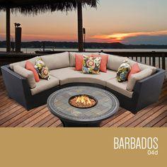 Barbados 4 Piece Outdoor Wicker Patio Furniture Set 04d