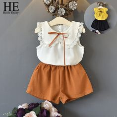 Summer Girls White Lace Blouse and Short Outfit Baby Boutique Clothing Set Chiffon Toddler Casual Wear Frocks For Girls, Little Girl Outfits, Kids Outfits Girls, Toddler Girl Outfits, Little Girl Dresses, Kids Girls, Summer Girls, Baby Girl Fashion, Kids Fashion