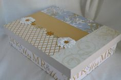 Wedding Memory or Keepsake Box. Gold Silver Mrs by MyMemoryBoxes