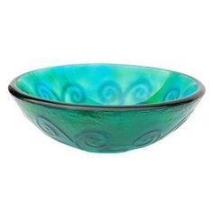 Eden Bath Green Glass Round Vessel Sink