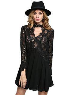 SheIn Women's With Lace Black Long Sleeve Party Short Dress (S, Black) Shein http://www.amazon.com/dp/B00WQMJWMC/ref=cm_sw_r_pi_dp_Dxrpwb19WFF0T